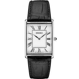 Seiko Men Stainless Steel Quartz Dress Watch with Leather Strap, Black, 20 (Model: SWR049)
