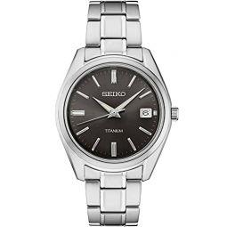 Seiko Men Stainless Steel Quartz Dress Watch with Titanium Strap, Silver, 20 (Model: SUR375)