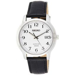Seiko Mens Year-Round Stainless Steel Quartz Watch with Leather Strap, Black, 20 (Model: SGEH69P1)