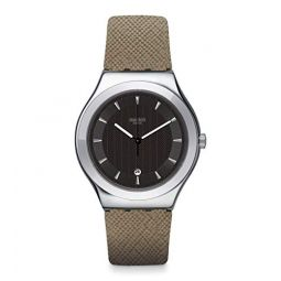 Swatch Mens Analogue Quartz Watch with Leather Strap YWS448