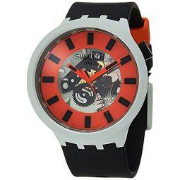 Swatch Big Bold BIOCERAMIC Quartz Silicone Strap, Black, 20 Casual Watch (Model: SB03M104)