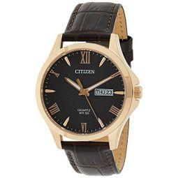 Citizen Quartz Black Dial Brown Leather Mens Watch BF2023-01H