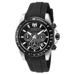 TechnoMarine Mens Manta Ray Stainless Steel Quartz Watch with Silicone Strap, Black, 22 (Model: TM-219032)
