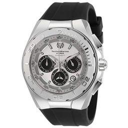 Technomarine Mens Cruise Stainless Steel Quartz Watch with Silicone Strap, Black, 22 (Model: TM-115345)