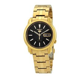 Seiko #SNKL88 Mens Gold Tone Stainless Steel Black Dial Automatic Watch