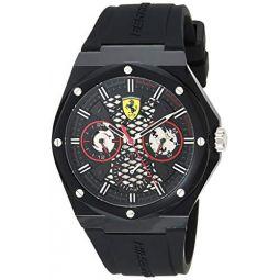 Ferrari Mens Quartz Watch with Silicone Strap, Black, 28 (Model: 0830785)