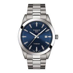 Tissot Mens Gentleman Quartz Swiss Dress Watch with Titanium Strap, Grey, 21 (Model: T1274104404100)