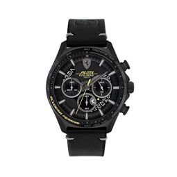 Ferrari Mens Stainless Steel Quartz Watch with Leather Strap, Black, 22 (Model: 0830823)