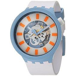Swatch Big Bold BIOCERAMIC Quartz Silicone Strap, White, 20 Casual Watch (Model: SB03N101)