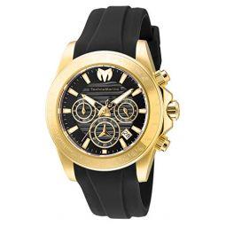 TechnoMarine Mens Manta Ray Stainless Steel Quartz Watch with Silicone Strap, Black, 22 (Model: TM-219035)