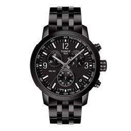 Tissot Mens PRC 200 Gent Chr Qua 316L Stainless Steel case with Black PVD Coating Swiss Quartz Strap, 20 Casual Watch (Model: T1144173305700)