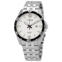 Citizen Quartz White Dial Stainless Steel Mens Watch BI5051-51A