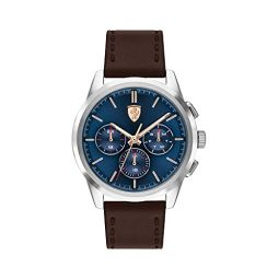 Ferrari Mens Grand Tour Multifunction Stainless Steel Case and Leather Strap Casual Watch, Color: Brown (Model: 0830806)