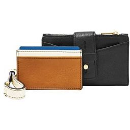 Fossil Womens Willa Leather Small Tab Bifold Wallet Wristlet With Removable Card Case