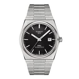 Tissot Mens PRX Swiss Automatic Dress Watch with Stainless Steel Strap, Grey, 12 (Model: T1374071105100)