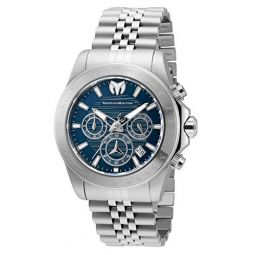 Technomarine Mens Manta Ray Quartz Watch with Stainless Steel Strap, 22 (Model: TM-219019)