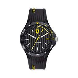Ferrari Mens Pista Quartz Watch with Silicone Strap, Black, 18 (Model: 0830782)