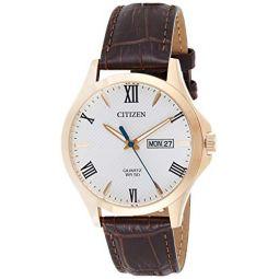 Citizen Quartz White Dial Brown Leather Mens Watch BF2023-01A
