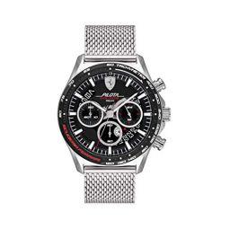 Ferrari Mens Quartz Watch with Stainless Steel Strap, Silver, 22 (Model: 0830826)