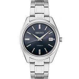 Seiko Men Stainless Steel Quartz Dress Watch with Titanium Strap, Silver, 20 (Model: SUR373)