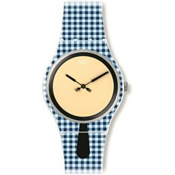 Swatch Moitie Moitie Yellow Dial Blue and White Check Silicone Mens Watch SUOW118