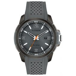 Citizen Mens Stainless Steel Eco-Drive Watch with Polyurethane Strap, Black, 22.5 (Model: AW1159-02H)
