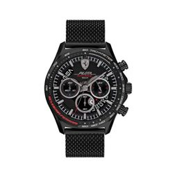 Ferrari Mens Quartz Watch with Stainless Steel Strap, Black, 22 (Model: 0830827)