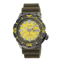 Seiko Prospex Monster Divers 200m Automatic Gray Plated Case Yellow Dial Watch SRPF35K1