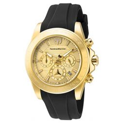 Technomarine Mens Manta Ray Stainless Steel Quartz Watch with Silicone Strap, Black, 22 (Model: TM-219034)