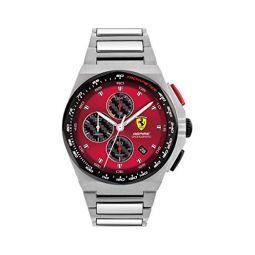 Ferrari Mens Quartz Watch with Stainless Steel Strap, Silver, 18 (Model: 0830790)