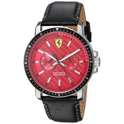Ferrari Mens Turbo Stainless Steel Quartz Watch with Leather Strap, Black, 22 (Model: 830449)