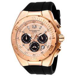Technomarine Mens Cruise Stainless Steel Quartz Watch with Silicone Strap, Black, 29 (Model: TM-115346)