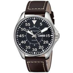 Hamilton Mens H64611535 Khaki King Pilot Black Watch with Brown Leather Band