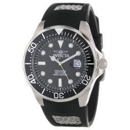 Invicta Mens 12558 Pro Diver Black Carbon Fiber Dial Black Polyurethane Watch