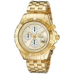 Invicta Mens 18854 Aviator Gold-Plated Stainless Steel Watch