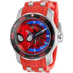 Invicta Mens 34742 Marvel Quartz 3 Hand Black, White, Blue, Red Dial Watch