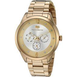 Technomarine Mens Moonsun Stainless Steel Quartz Watch with Stainless-Steel Strap, Gold, 19.6 (Model: TM-117041)