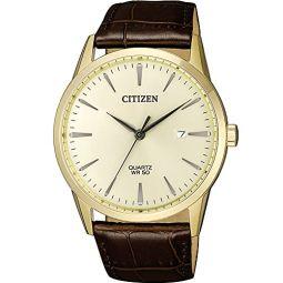 Citizen Quartz Gold Dial Brown Leather Mens Watch BI5002-14A