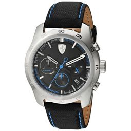 Ferrari Mens PRIMATO Stainless Steel Quartz Watch with Nylon Strap, Black, 22 (Model: 830444)