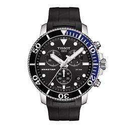 Tissot Mens Seastar 660/1000 Stainless Steel Swiss Quartz Rubber Strap, Black, 22 Casual Watch (Model: T1204171705102)