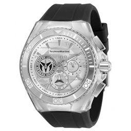 Technomarine Mens Cruise California Stainless Steel Quartz Watch with Silicone Strap, Black, 29.1 (Model: TM-118122)