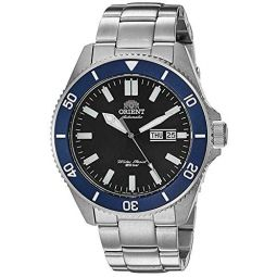 Orient Watches For Men Kanno Stainless Steel Diving Style Watches for Men, Japanese Automatic Mens Watch with Rubber and Metal Band