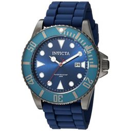 Invicta Mens Pro Diver Stainless Steel Quartz Watch with Silicone Strap, Black, Blue, Gold, 22 (Model: 90305, 90306)