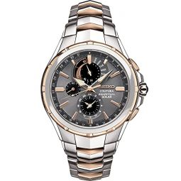 Seiko Men Solar Dress Watch with Stainless Steel Strap, Two-Tone, 12 (Model: SSC788)