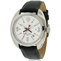 Ferrari 830240 Scuderia Leather Mens Watch - Silver Dial