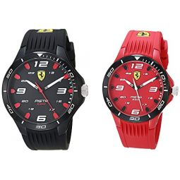 Ferrari Mens Quartz Watch with Silicone Strap, Black Red, 18 (Model: 0870047)