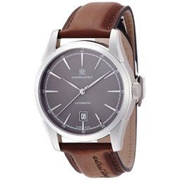 Hamilton Mens Timeless Classic Stainless Steel Swiss-Automatic Watch with Leather Calfskin Strap, Brown, 22 (Model: H42415591)