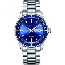 Hamilton Mens H37551141 Jazz Master Sea View Analog Display Swiss Quartz Silver Watch