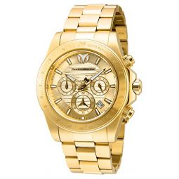 TechnoMarine Mens Manta Ray Quartz Watch with Stainless Steel Strap, Gold, 22 (Model: TM-219004)