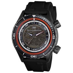 Technomarine Mens Manta Dual Zone Mechanical Stainless Steel Automatic Watch with Silicone Strap, Black, 24 (Model: TM-218009)